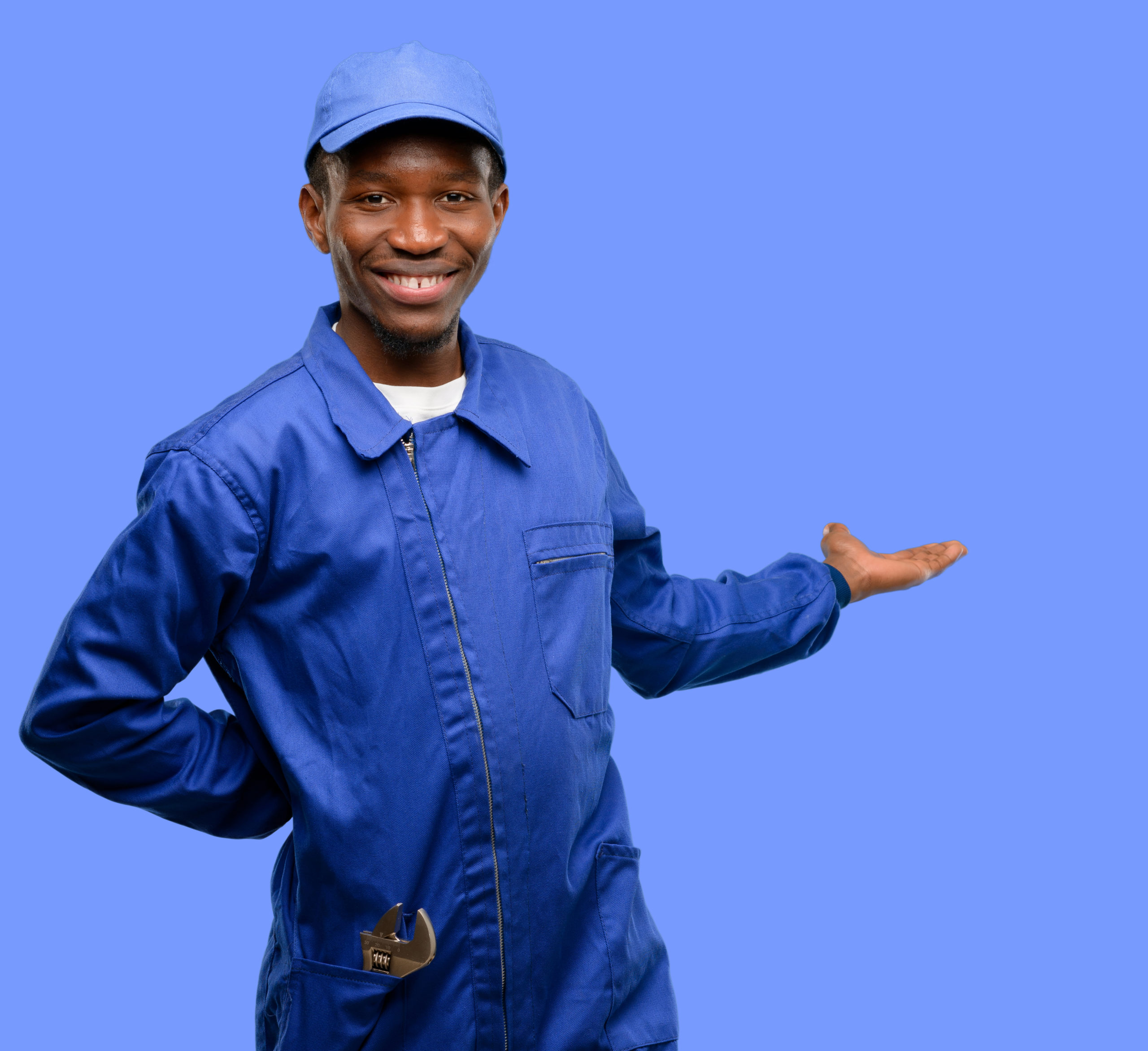 African black plumber man confident and happy with a big natural smile inviting to enter